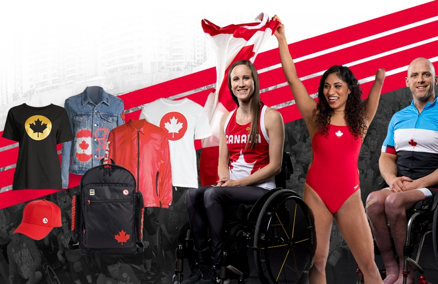 An image of Andrea Nelson, Katarina Roxon, and Charles Moreau surrounded by items from the official Tokyo 2020 clothing collection